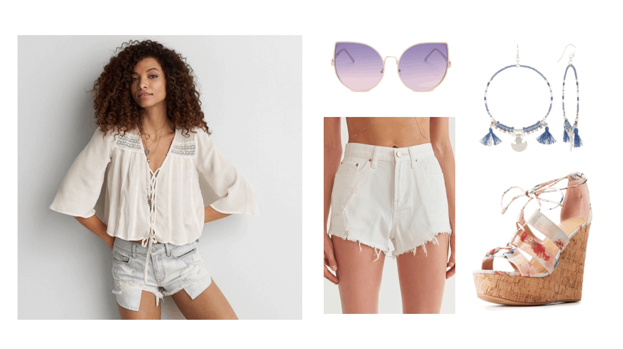 Girls Generation Party Music Video fashion - Summer outfit idea with white cutoff denim shorts, white and floral cork wedges, tassel hoop earrings in blue, purple cat eye sunglasses, beige peasant blouse