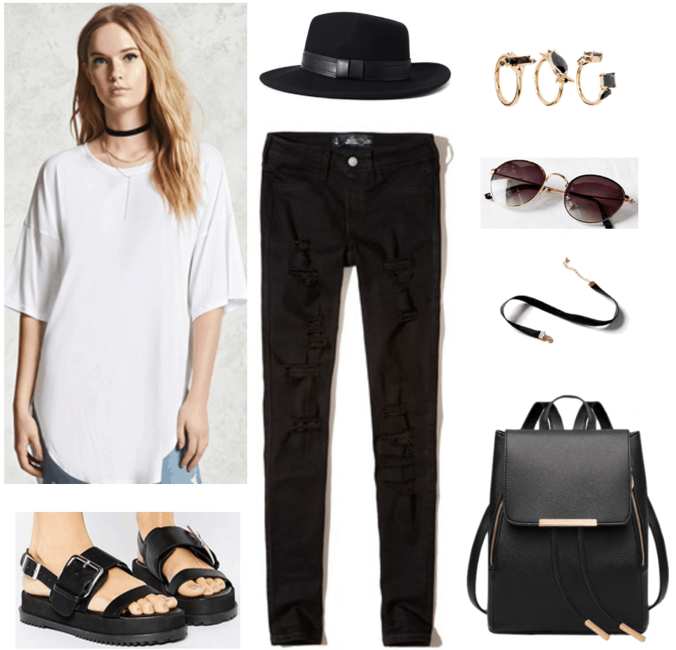 Lollapalooza Outfit: Indie Girl outfit with oversized white tee shirt, black skinny jeans, black platform sandals, black backpack, black fedora, layered gold rings, choker