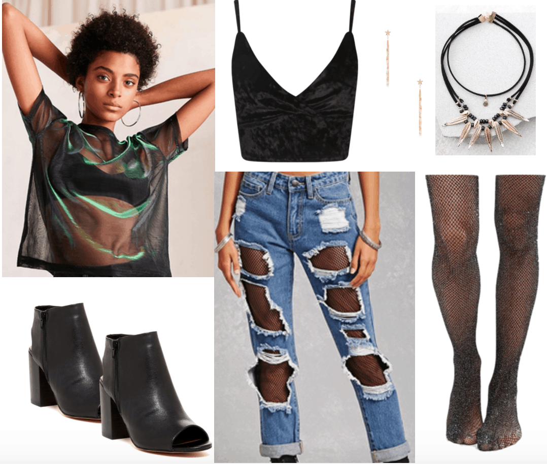 Lollapalooza Outfit 3 - Dance/EDM: Black velvet crop top, ripped jeans over fishnet tights, high heel ankle boots, sheer holographic tee in black, spike choker necklace