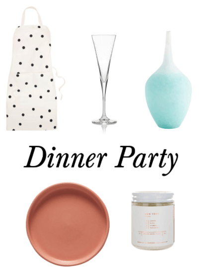 Dinner party hostess gift ideas: Polka dot apron, champagne flutes, pretty blue ombré vase, serving platter, scented candle