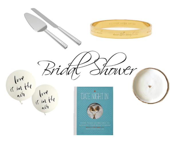Bridal shower gifts: Cake serving set, Bridal bangle by Kate Spade, Love is in the Air balloons, Date Night In cookbook, ring dish