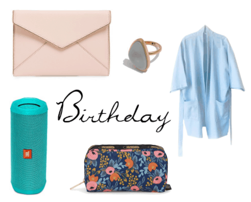 Classy birthday gifts for a friend - our best gift ideas include a pretty envelope clutch, geode ring, comfy robe, waterproof bluetooth speaker, printed makeup bag