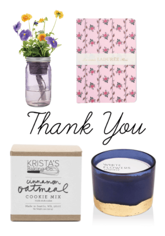 Classy gift ideas: Thank you gifts - vase of flowers, pretty journal, oatmeal cinnamon cookie mix, white flowers candle