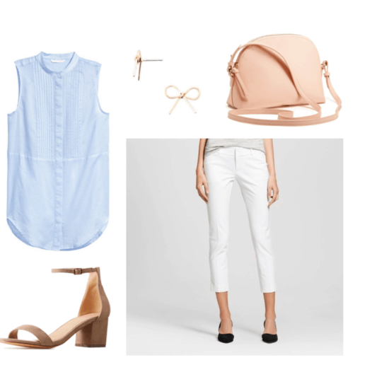 Outfit idea for a brunch date: Blue sleeveless tunic top with buttons, white trousers, low heel nude shoes, rose colored crossbody bag, bow earrings in gold