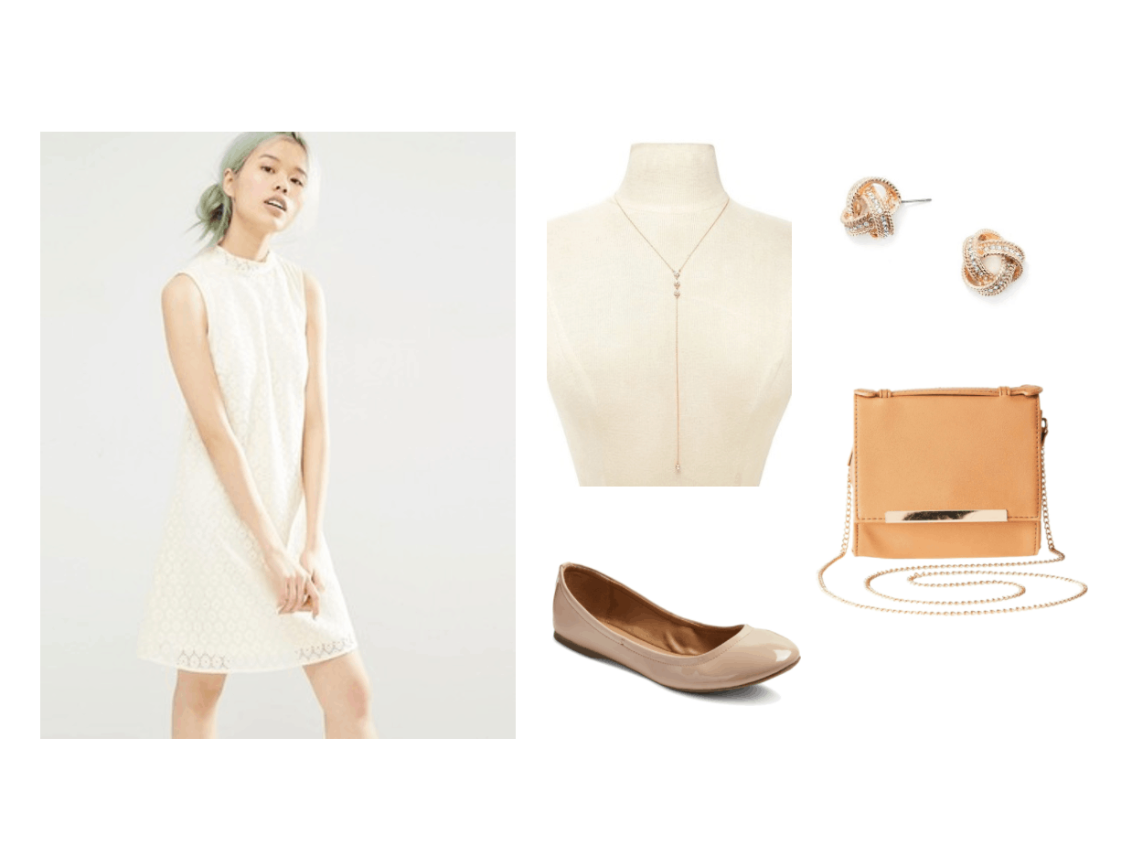 Museum date outfit: White sleeveless shift dress, long thin gold necklace, orange crossbody bag, nude patent flats, simple stud earrings