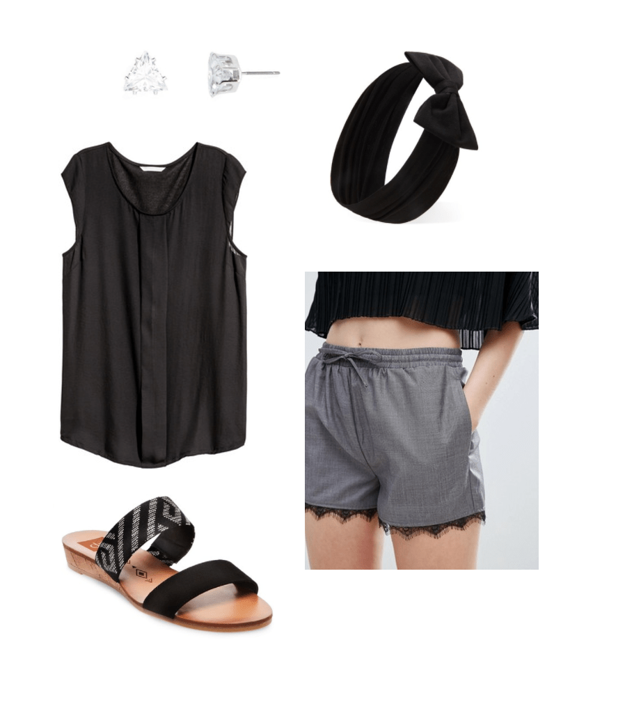 Date night in: What to wear to watch Netflix and cook dinner with your boyfriend or girlfriend. Black button-down tee shirt, bow headband, stud earrings, cute gray and black lace shorts, simple sandals