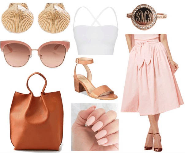 Cuban fashion: Outfit idea inspired by Cuba with romantic pink 1960s skirt, beige sunglasses, white crop top, tan heels, nude matte nails