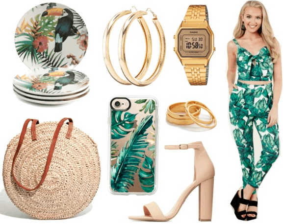 Cuban fashion: Outfit idea inspired by Cuba with palm print pants and top, palm tree print phone case, gold watch and jewelry, woven bag, nude strappy heels