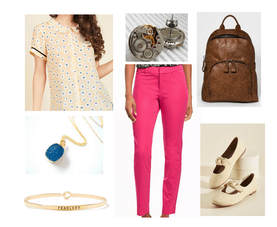 Outfit inspired by Castle in the Sky movie: Vintage style tee shirt, pink trousers, blue necklace, Fearless bangle, bow flats, brown backpack, steampunk stud earrings
