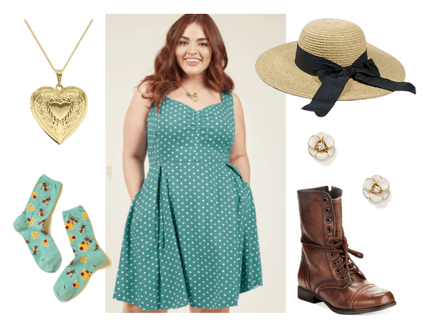 Outfit inspired by Howl's Moving Castle: Teal polka dot dress, ankle socks, hat with a bow, flower earrings, locket, brown lace up boots