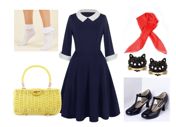 Outfit inspired by Kiki's Delivery Service movie: Navy dress with white collar and cuffs, ruffle ankle socks, woven yellow purse, coral neck scarf, vintage heels, black cat stud earrings