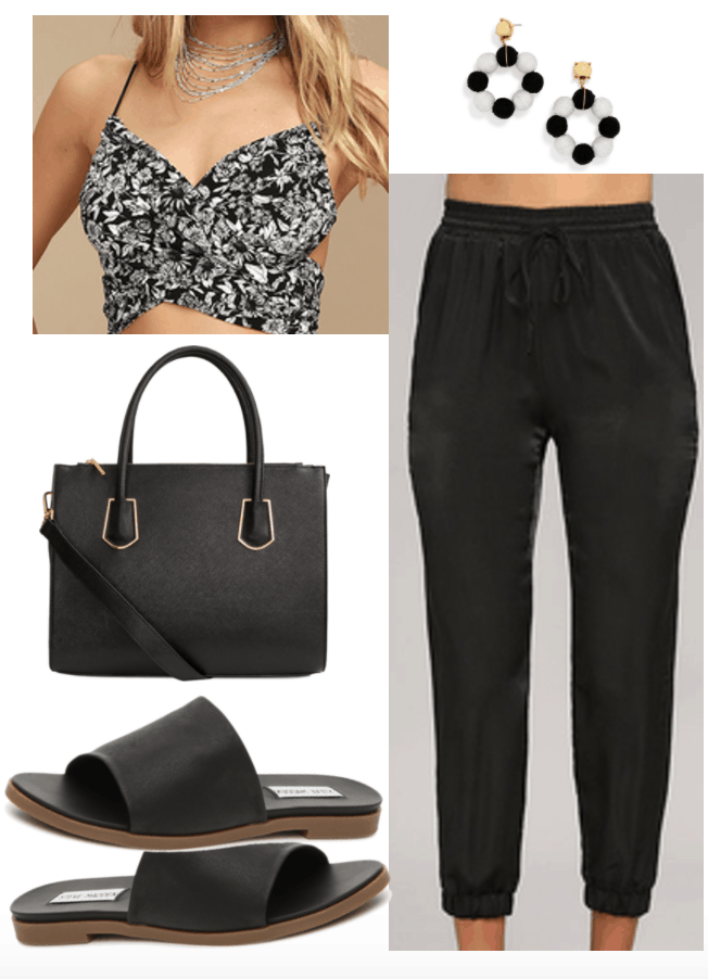 How to Wear Satin Outfit 1: Satin Joggers with criss-cross patterned crop top, statement earrings, black handbag, black slides