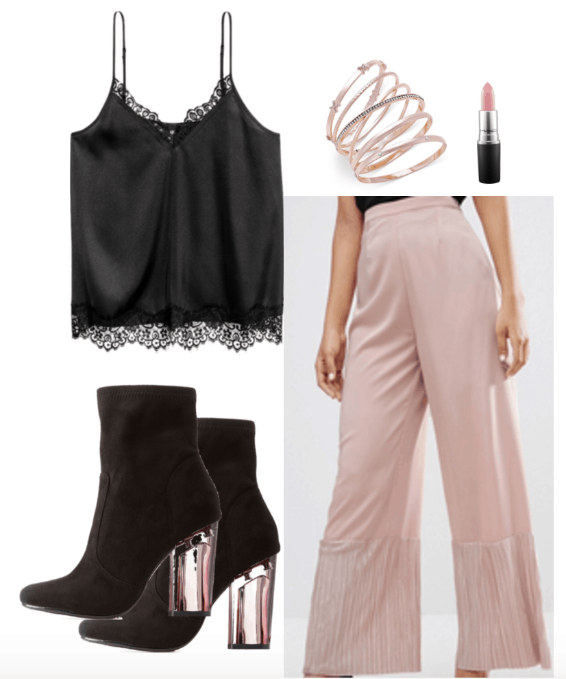 How to Wear Satin - Outfit 2: Fancier Camisole Top. Black cami worn with pink flowing wide leg pants, bangles, pink lipstick, suede booties