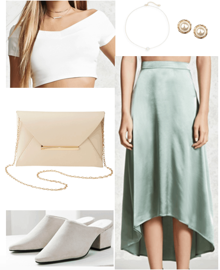 Satin Outfit 3: Fancy satin skirt in mint green with off-the-shoulder crop top in white, nude chain strap envelope bag, pearl earrings, pearl choker, low heel mules in white suede