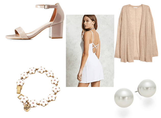 What to wear with tattoos: Simple, girly, and basic outfit with white dress, beige cardigan, nude strappy heels, daisy bracelet, pearl earrings