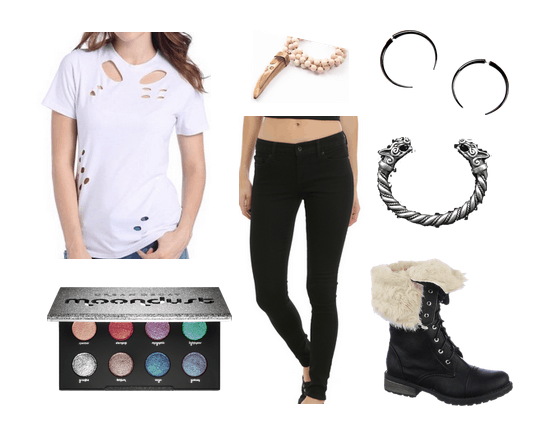 Outfits inspired by Studio Ghibli: Ripped tee shirt, black jeans, black boots, dragon cuff bracelet