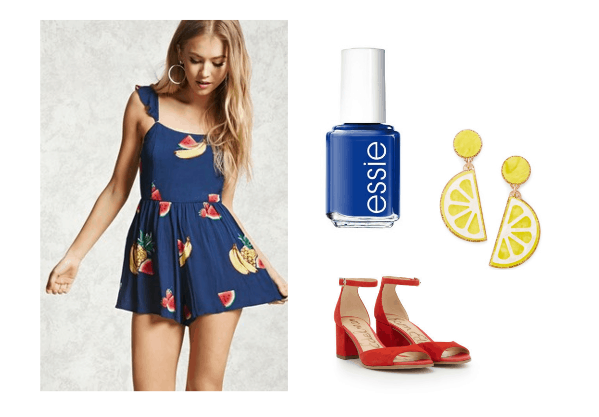 Cute summer outfit idea inspired by Red Flavor music video: Fruit print dress with ruffles, blue nail polish, red sandals, lemon earrings