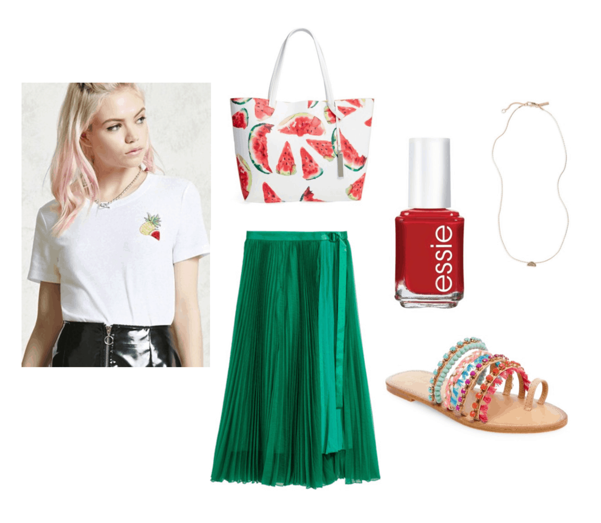 Cute and sweet outfit idea: Green skirt, watermelon tote bag, fruit graphic tee, red nail polish, simple pendant necklace, beaded sandals - Outfit inspired by Red Velvet's Red Flavor music video