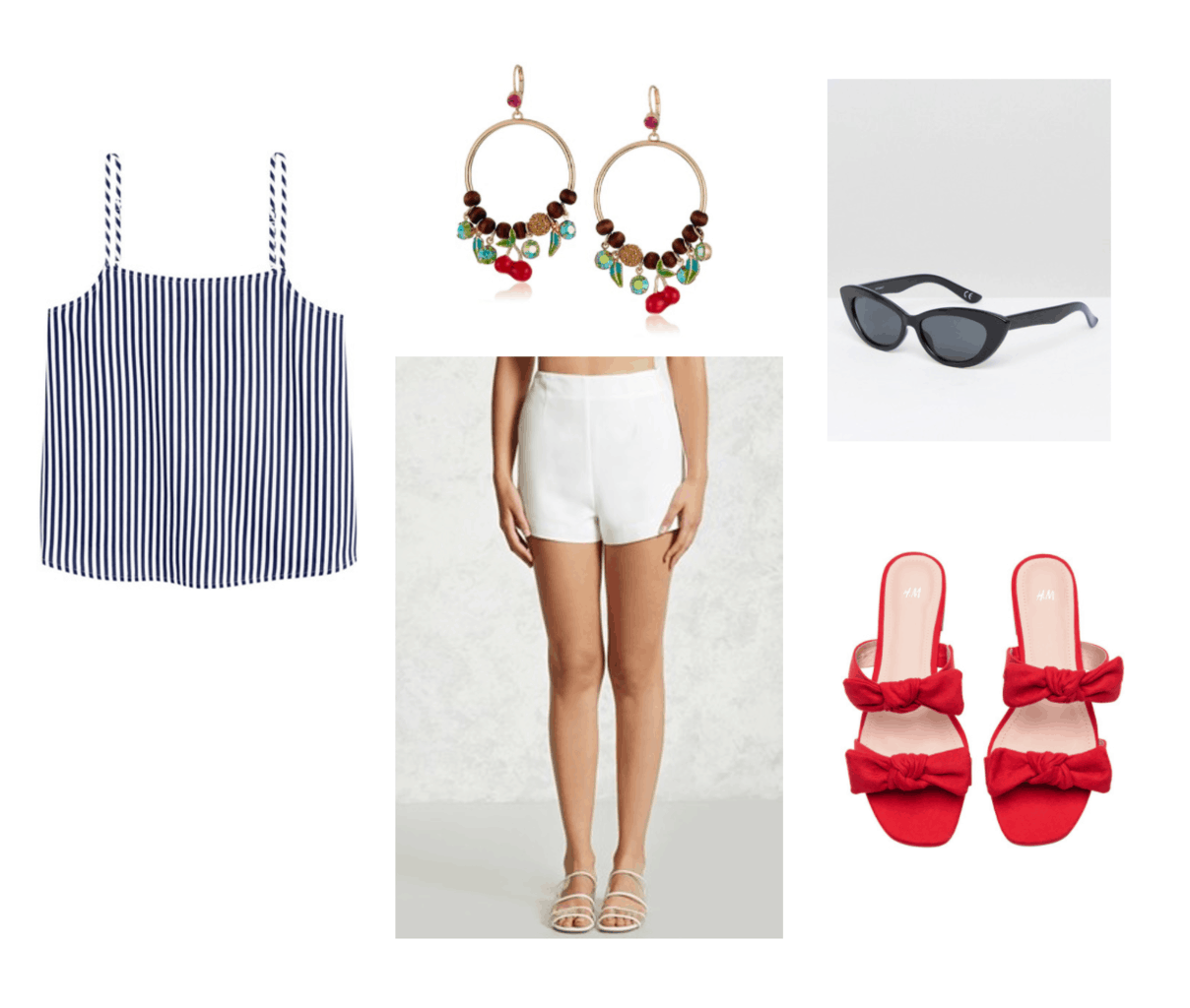 Outfit inspired by Red Velvet's Red Flavor music video: Striped tank, white shorts, red bow sandals, beaded earrings, cat eye sunglasses