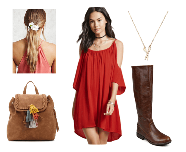 Outfits inspired by Studio Ghibli: Off the shoulder red dress, knee high boots, suede backpack, scissor necklace, floral hair tie