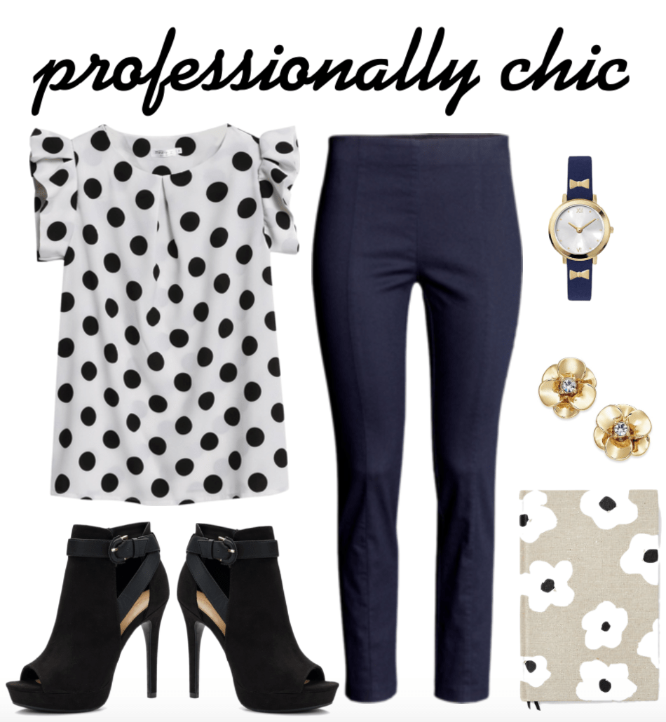 Professionally chic navy & black outfit 1 for the office: Black and white polka dot blouse, navy blue pants, navy blue bow watch, gold floral stud earrings, floral journal, black high heel ankle boots