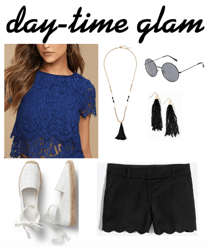 Navy & black outfit 3: day-time glam: Summer outfit idea with navy lace crop top with short sleeves, navy tassel necklace, black tassel earrings, round sunglasses, white espadrille flats, black scalloped shorts