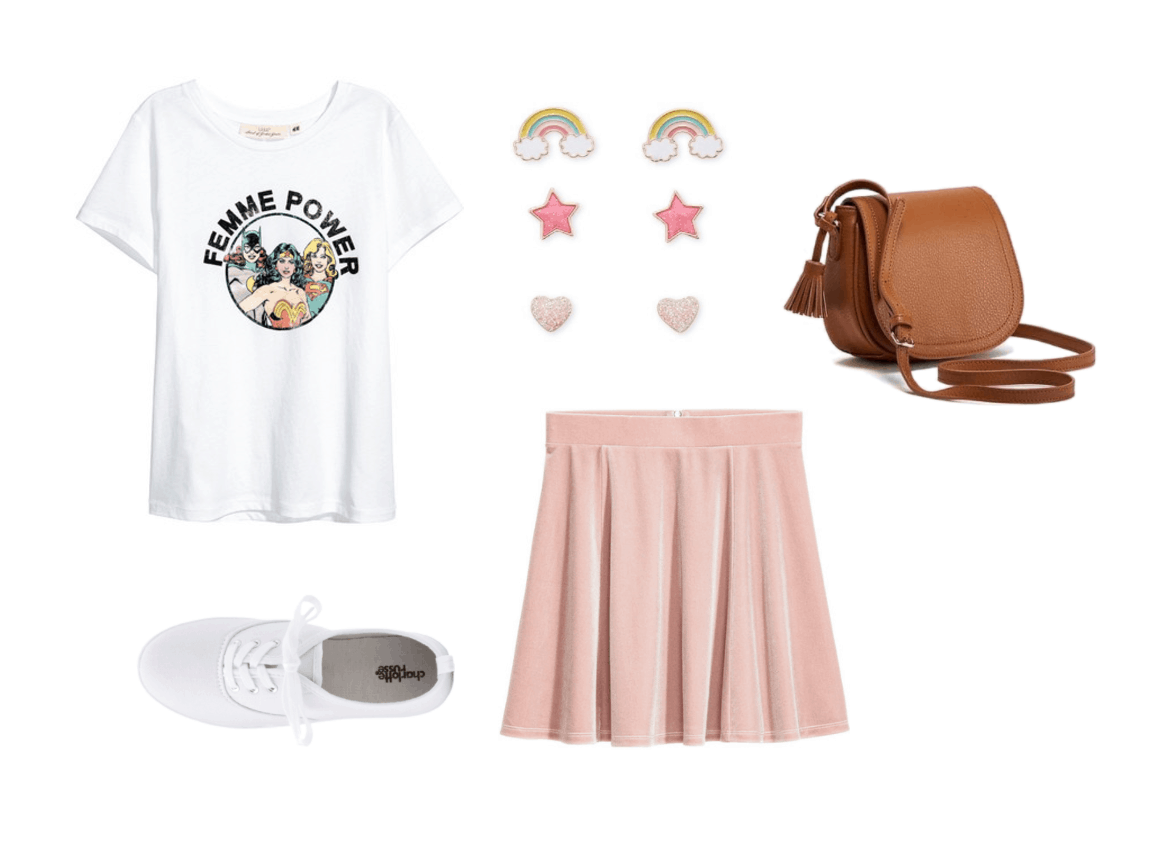 How to wear a graphic tee: Outfit under $100 with Femme Power graphic tee, light pink mini skirt, camel cross body bag, white sneakers, rainbow stud earrings