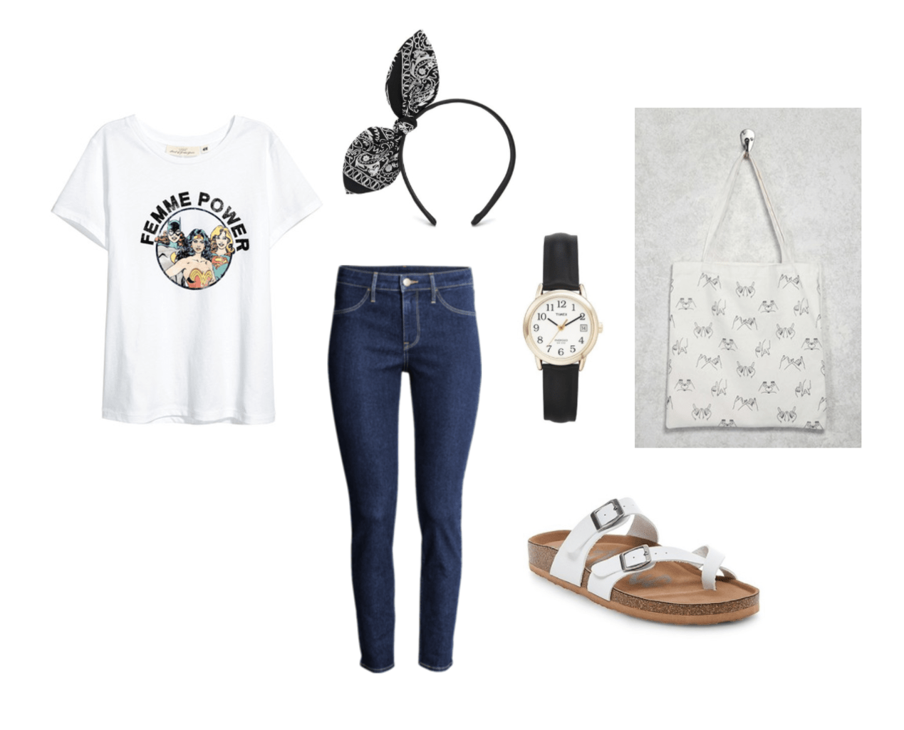 How to wear a graphic tee: Outfit under $100 with dark wash skinny jeans, Femme Power superhero tee shirt, black and gold watch, white footbed sandals, printed tote bag, bandana style headband