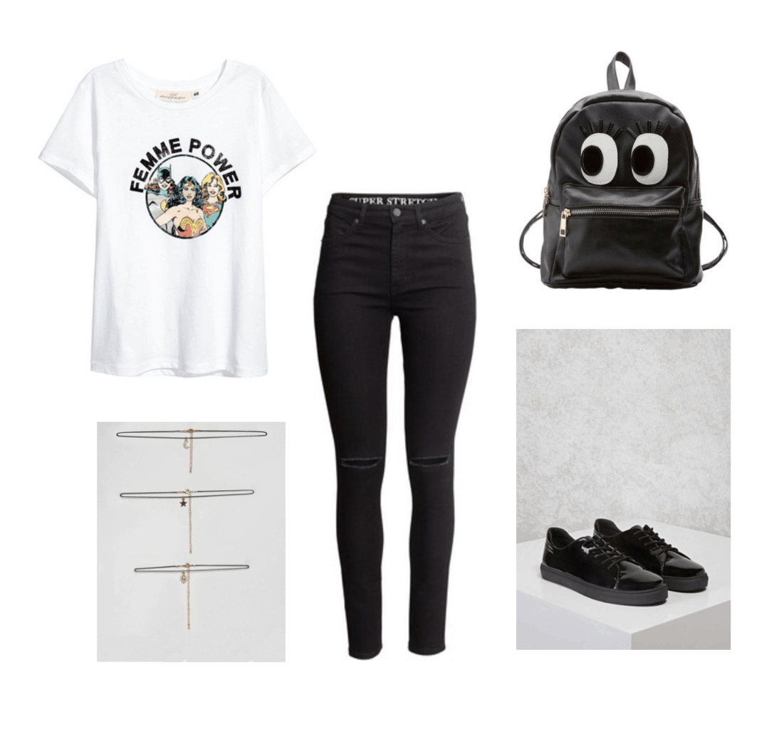 How to wear a graphic tee: Outfit under $100 with black skinny jeans, Femme Power superhero tee shirt, layered necklaces, black sneakers, black backpack with cartoon eyes