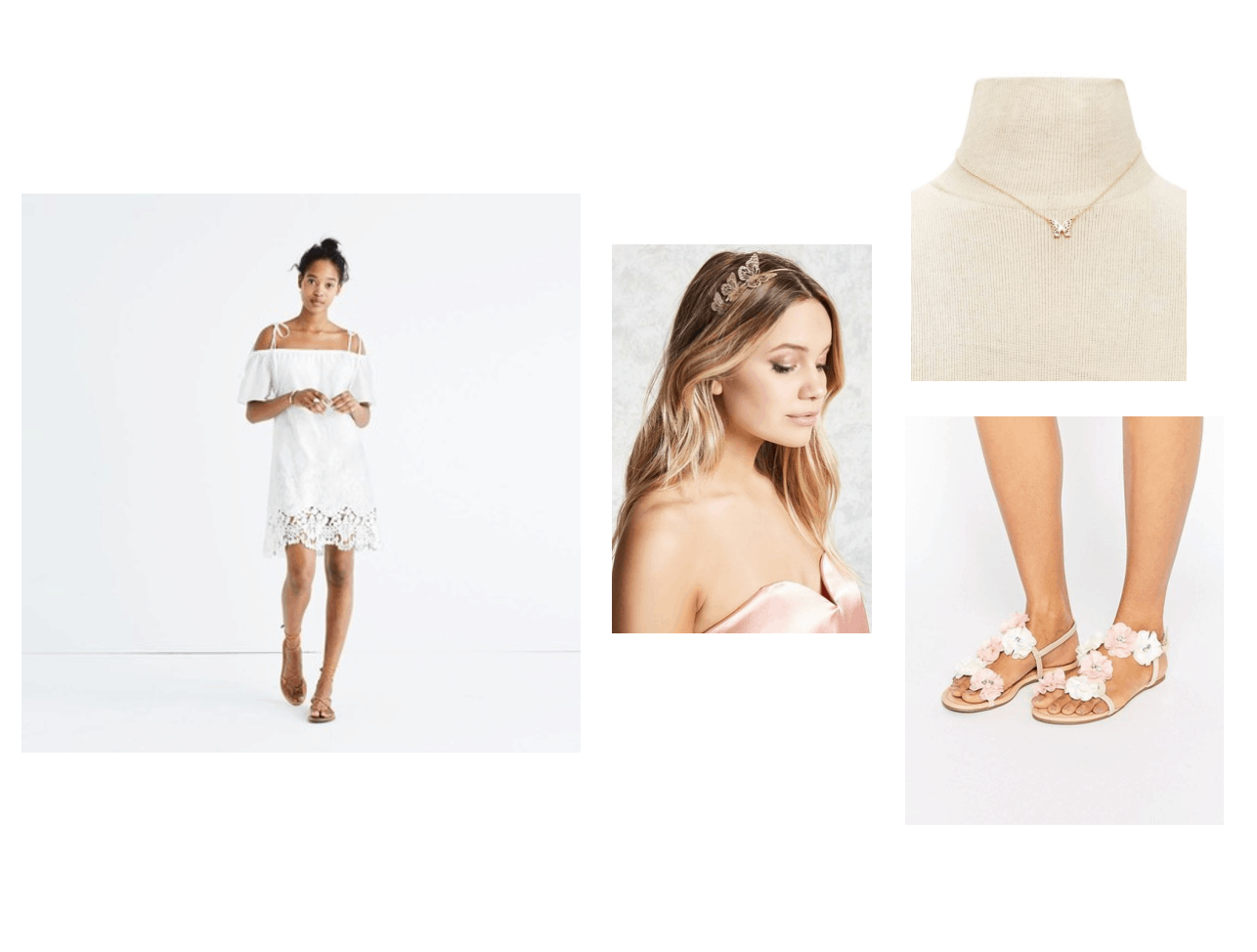 Pretty summer outfit idea: Off the shoulder white dress with lace accents, simple pendant necklace in gold, flower sandals, headband