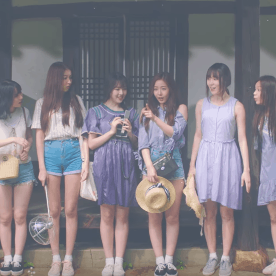 GFRIEND Love Whisper music video: The girls standing in a line wearing cute summer dresses and denim shorts