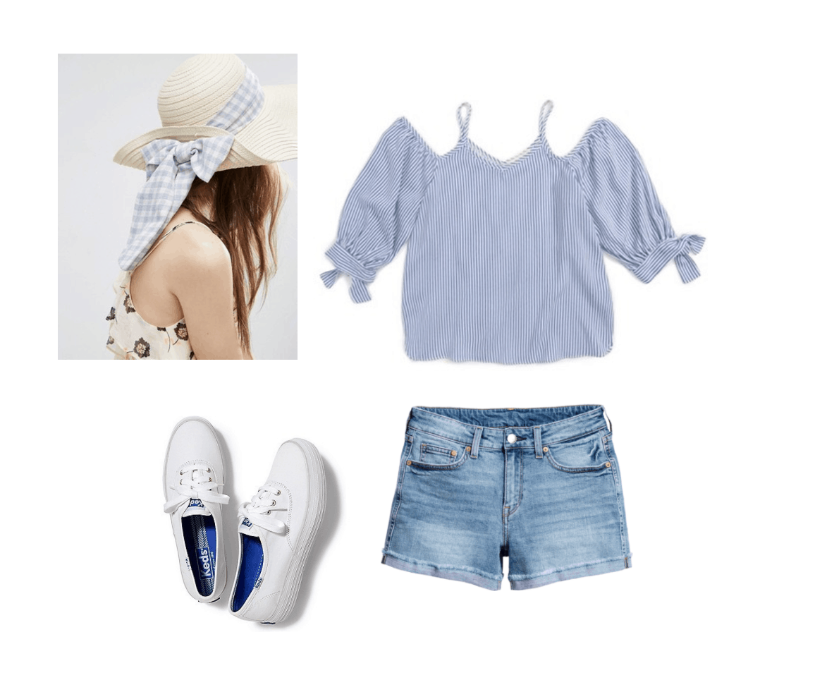 Summer outfit idea: Light blue off the shoulder top, denim cutoff shorts with small cuff, platform Keds sneakers, wide brim straw hat with gingham ribbon