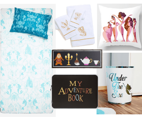 Disney room decor for dorms and apartments: Little Mermaid sheets and pillowcases, Beauty and the Beast towels, Beauty and the Beast wall decor, My Adventure Book laptop case, Under the Sea trash can, Hercules pillow