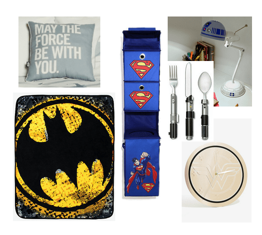 Star Wars / DC Comics room decor: May the Force Be With You pillow, Superman organizer, Batman mousepad, R2D2 lamp, Star Wars silverware, Wonder Woman clock