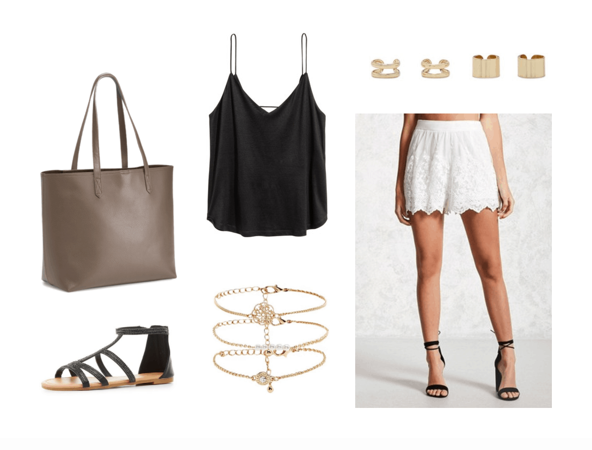 Cute back to school outfits for when it's still hot out: Black cami, white lace scalloped shorts, layered gold bracelet, simple taupe oversized tote bag, black sandals, gold ear cuffs