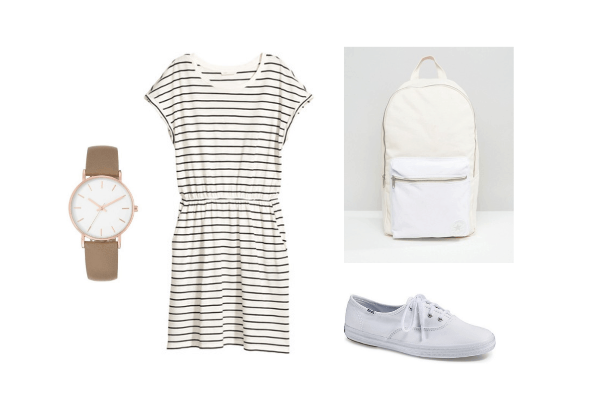 Cute back to school outfits for college: Striped t-shirt dress with cinched waist, beige and white backpack, white Keds sneakers, taupe and rose gold watch
