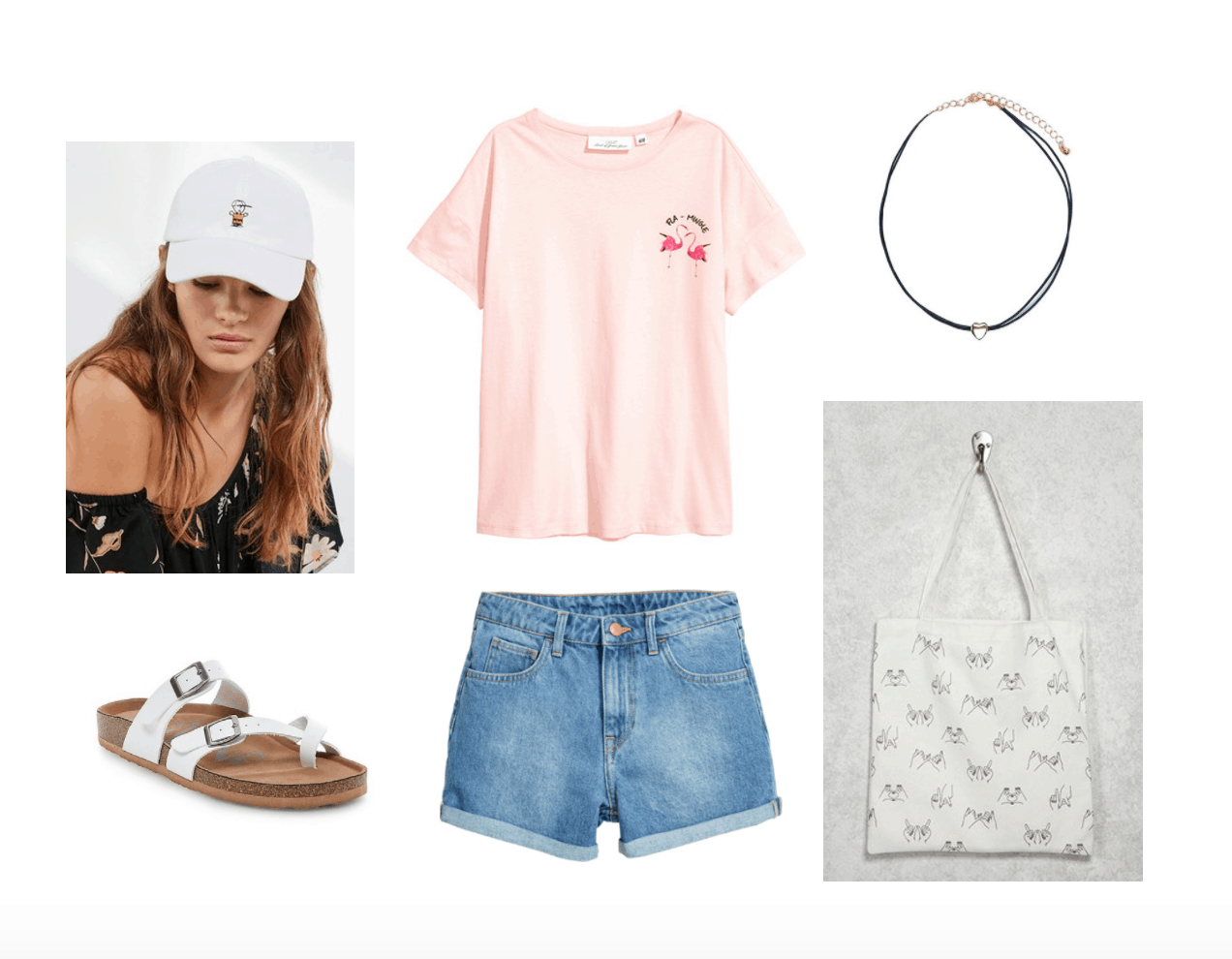 Back to school outfits for college: Pink tee shirt, white dad hat, white footbed sandals, denim cutoffs, printed tote bag, choker