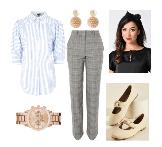 Vintage-inspired workwear: Outfit for a casual workplace or internship with slim fit gray pants, blue striped blouse, stud earrings, rose gold watch, beige bow flats, black head scarf