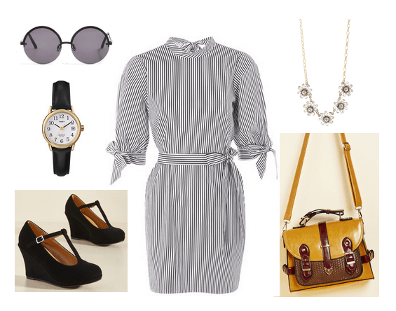 Vintage-inspired workwear: Outfit for a casual workplace or internship with striped shirtdress, mary-jane wedges, messenger bag in yellow, classic black watch, floral statement necklace, round sunglasses