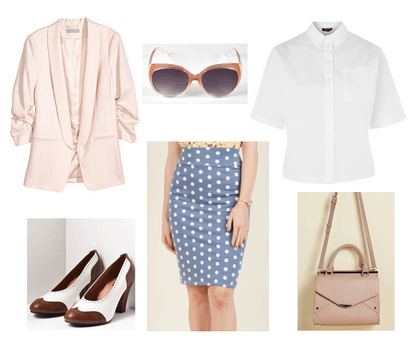 Vintage-inspired workwear: Outfit for a casual workplace or internship with blush pink blazer, white shirt, blue polka dot pencil skirt, vintage pumps in brown and white, retro sunglasses, pink envelope bag