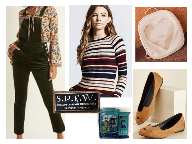 Back to school outfit idea inspired by Harry Potter: Hermione Granger style outfit with striped sweater, black overalls, heart backpack, cat flats, SPEW badge