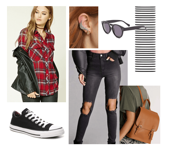 Harry Potter Back to School Outfits: Ginny Weasley outfit with red plaid shirt, ripped black jeans, black Converse, golden snitch earrings, black sunglasses