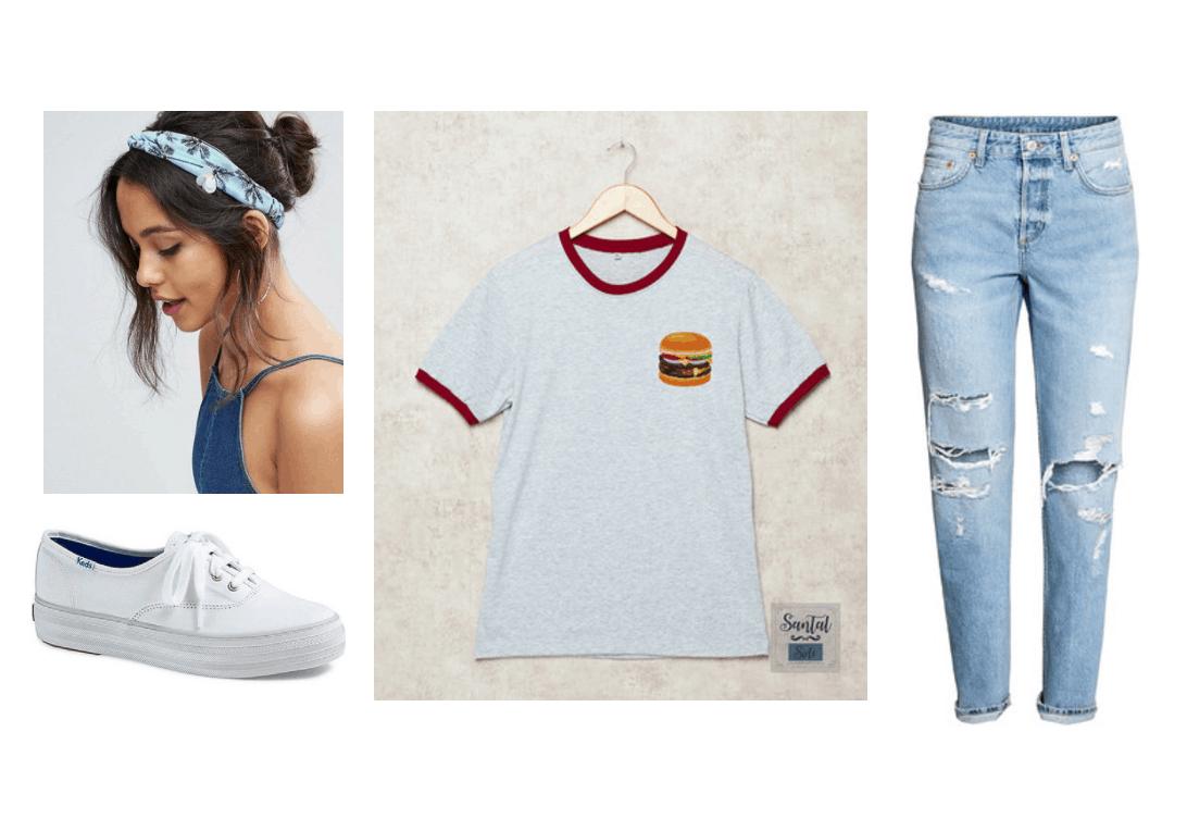 EXO Ko Ko Bop Video Fashion - Outfit with burger tee shirt, ripped mom jeans, platform Keds, blue palm tree print headband