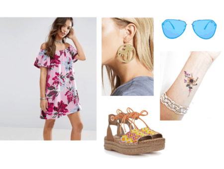EXO Ko Ko Bop Video Fashion - Outfit with an off-the-shoulder floral dress in pink, palm tree hoop earrings, floral temporary tattoo, blue sunglasses, orange and yellow patterned espadrille flats