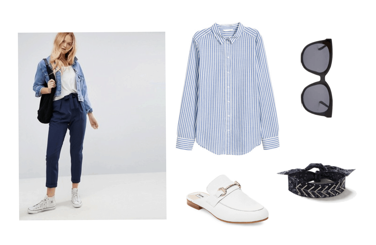 EXO Ko Ko Bop Video Fashion - Outfit with navy blue joggers, a striped button-down shirt in blue and white, white oxford mules, black oversized sunglasses