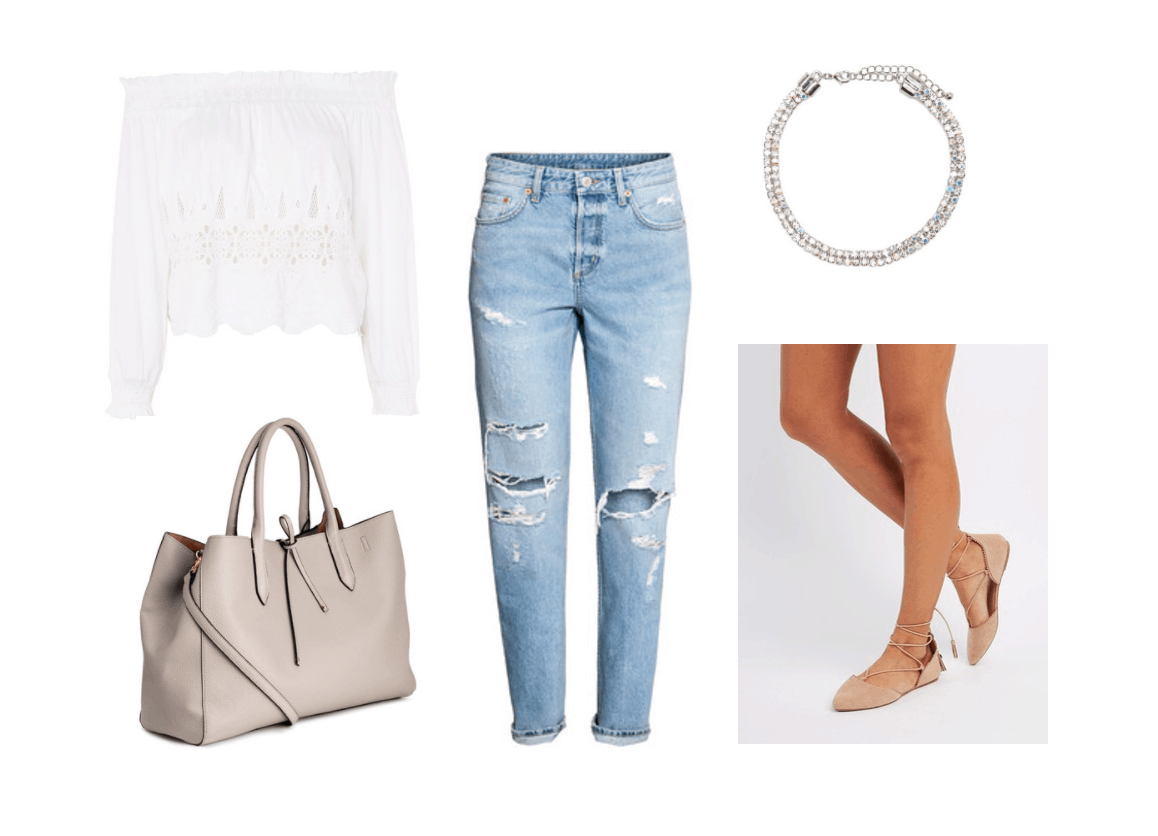 Boyfriend jeans styling - outfit 2 for class: Ripped boyfriend jeans, off-the-shoulder white bardot top, glitter choker, lace-up ballet flats, taupe tote bag