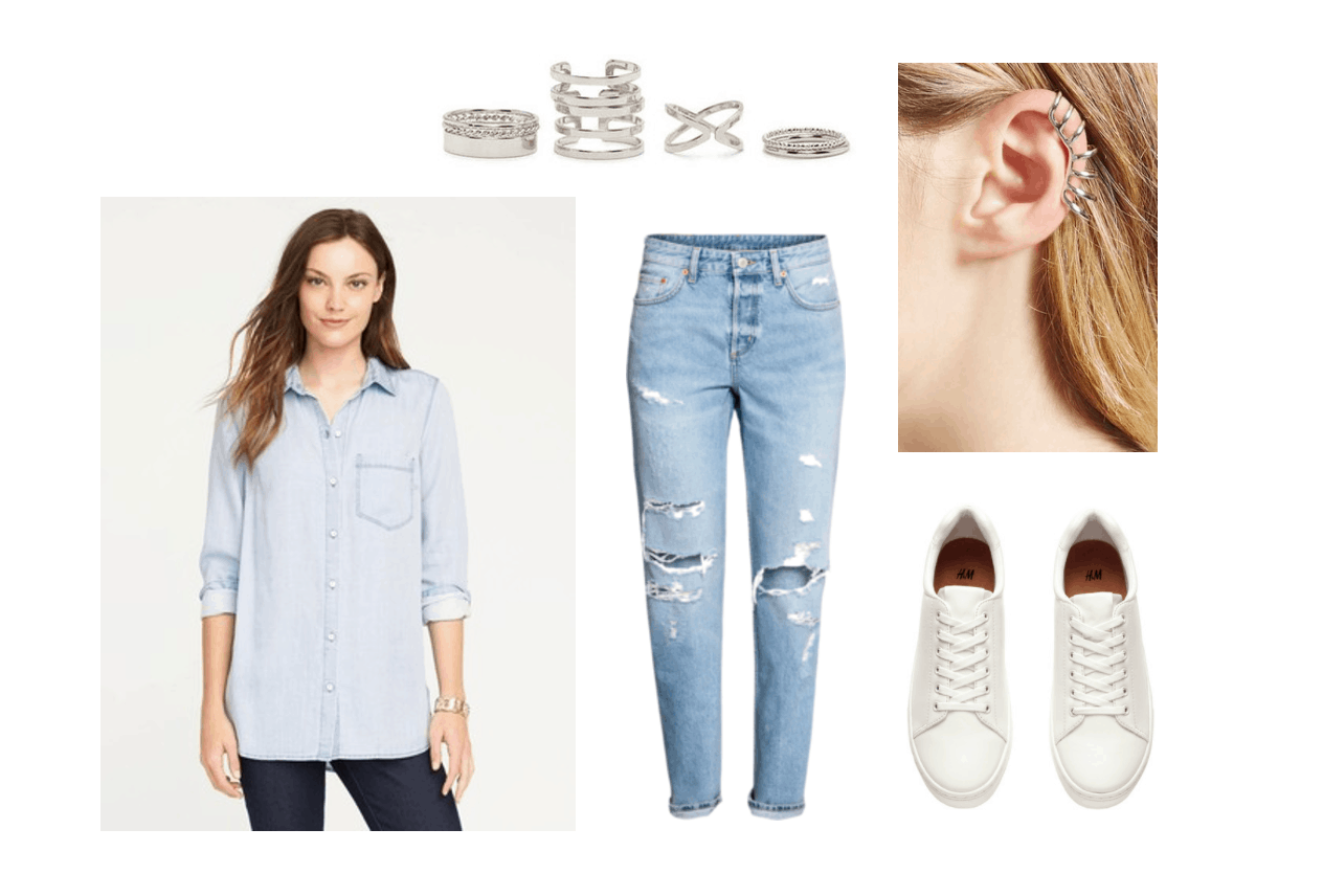 Boyfriend jeans styling - outfit 3 for class: Chambray shirt, rings, white sneakers