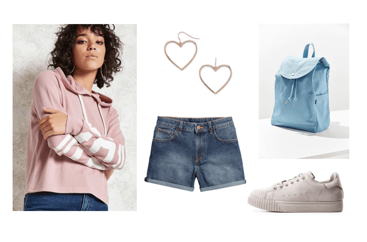 Summer to fall transition outfit under $100: Light pink sweatshirt, denim shorts, pink sneakers, heart earrings, blue backpack