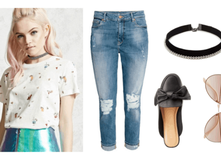 Summer to fall transition outfit under $100: Boyfriend jeans, cocktail print t-shirt, bow mules, chokers, aviator sunglasses