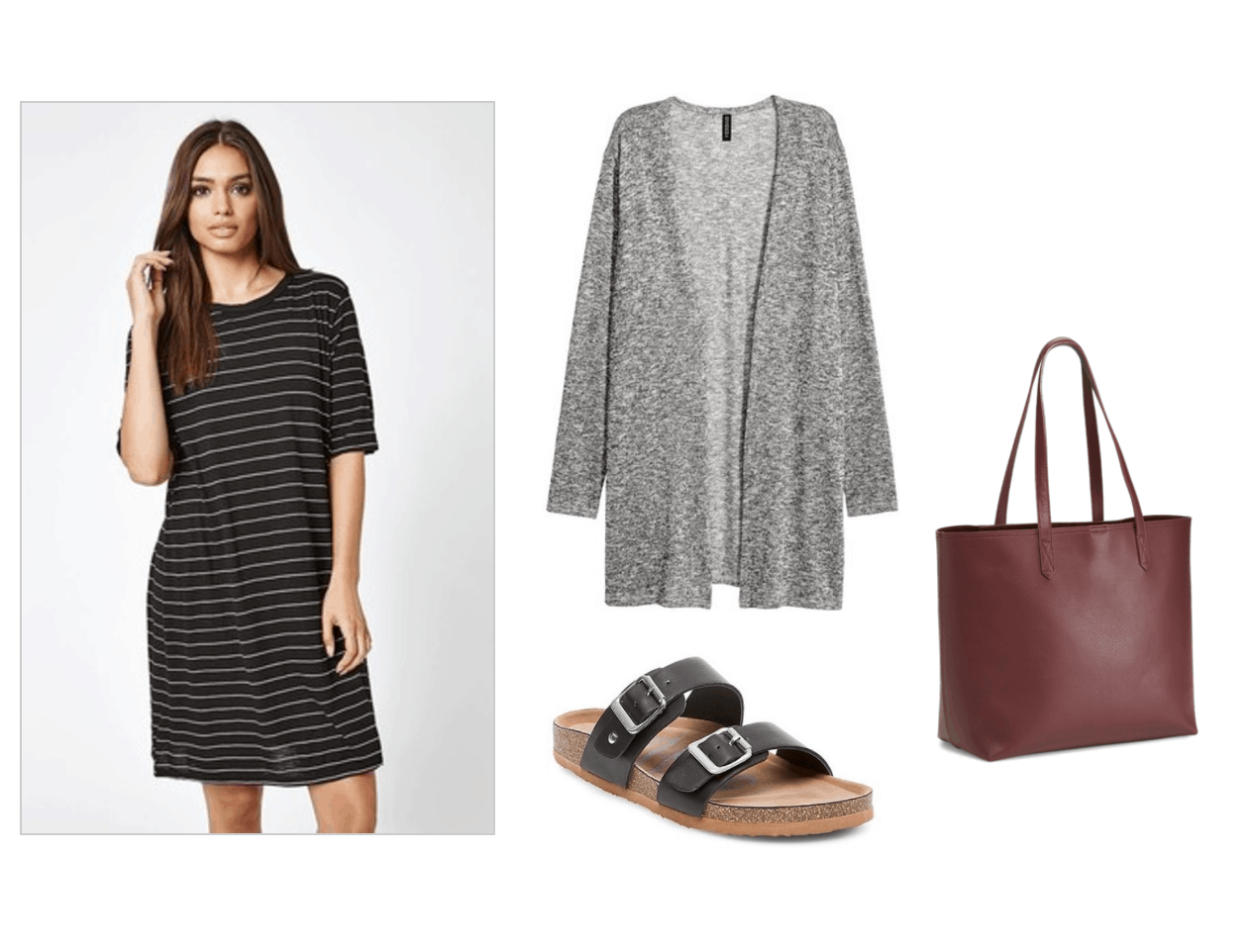 Summer to fall transition outfit under $100: Striped t-shirt dress, gray knit cardigan, footbed sandals, burgundy red tote bag